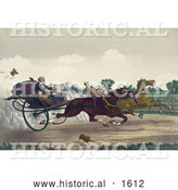 Historical Illustration of Two Competitive Men Racing Their Horses down a Street with a Dog Running Along the Side by Al