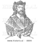 Historical Illustration of Two Crossed American Flags over a Portrait of Christopher Columbus Which Is Composed of 41,819 Letters Representing the Biography of Columbus - Black and White Version by Al
