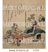 Historical Illustration of Two Geisha Women and a Child at a Tea Party by Al