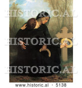 Historical Illustration of Two Women, One a Widow, Crouching at a Grave, the Day of the Dead by William-Adolphe Bouguereau by Al
