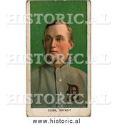 December 28th, 2013: Historical Illustration of Ty Cobb, over Green - Detroit Tigers - Vintage Baseball Card by Al