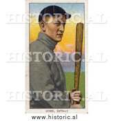 December 28th, 2013: Historical Illustration of Ty Cobb Posing with a Bat - Detroit Tigers Baseball Player - Vintage Baseball Card by Al