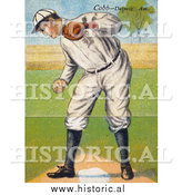 December 28th, 2013: Historical Illustration of Ty Cobb Standing over Base Plate While Looking down - Vintage Baseball Card by Al