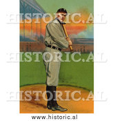 December 28th, 2013: Historical Illustration of Ty Cobb up for Bat - Detroit Tigers - Vintage Baseball Card by Al