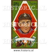 December 28th, 2013: Historical Illustration of Ty Cobb with Baseball Gear - Detroit Tigers - Vintage Baseball Card by Al