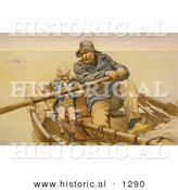Historical Illustration of Uncle Sam and John Pierpont Morgan Rowing Boat - the Helping Hand by Al