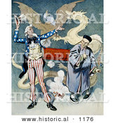 Historical Illustration of Uncle Sam Beside a Chinese Man Connected to a Firecracker with a Dragon and Eagle in the Background by Al