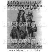 Historical Illustration of Uncle Sam: Boys and Girls! Help Me Win the War by Saving Your Quarters - Black and White Version by Al