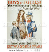 Historical Illustration of Uncle Sam: Boys and Girls! You Can Help Win the War - Save Your Quarters - Buy War Savings Stamp by Al