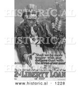 Historical Illustration of Uncle Sam: Buy a United States Government Bond of the 2nd Liberty Loan of 1917 - Black and White Version by Al