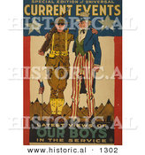 Historical Illustration of Uncle Sam: Current Events - Latest Views of Our Boys in the Service by Al