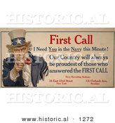 Historical Illustration of Uncle Sam: First Call I Need You in the Navy This Minute! - Navy Recruiting Station by Al