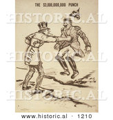 Historical Illustration of Uncle Sam Giving the $3,000,000,000 Punch - Liberty Bond by Al