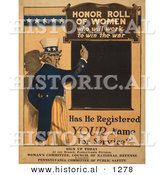Historical Illustration of Uncle Sam: Honor Roll of Women - Who Will Work to Win the War by Al