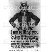 Historical Illustration of Uncle Sam: I Am Telling You to Enlist in the Army by June 28th - Black and White Version by Al