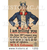Historical Illustration of Uncle Sam: I Am Telling You to Enlist in the Army by June 28th by Al