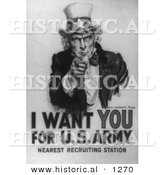 Historical Illustration of Uncle Sam: I Want You for US Army - Black and White Version by Al