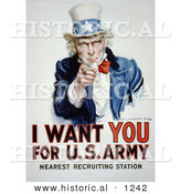 Historical Illustration of Uncle Sam: I Want You for US Army - Nearest Recruiting Station by Al