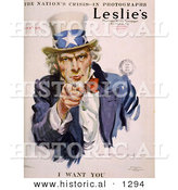 Historical Illustration of Uncle Sam - I WANT YOU - Leslie's Illustrated Newspaper by Al