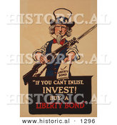 Historical Illustration of Uncle Sam: if You Can't Enlist, Invest! Buy a Liberty Bond by Al