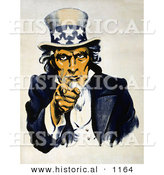 Historical Illustration of Uncle Sam in Blue, Pointing Outwards - Navy War Recruitment by Al