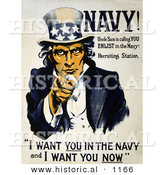 "Historical Illustration of Uncle Sam Poster Quote ""I Want You in the Navy and I Want You Now"" by Al"