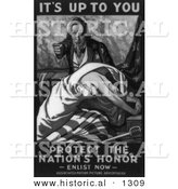 Historical Illustration of Uncle Sam: Protect the Nation's Honor - Enlist Now - Black and White Version by Al