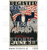 Historical Illustration of Uncle Sam: Register June 5th - a Great Day of Patriotic Devotion and Obligation by Al