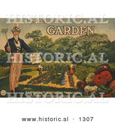 "Historical Illustration of Uncle Sam Says ""Garden to Cut Food Costs"" - United States Department of Agriculture - Free Bulletin on Gardening - It's Food for Thought by Al"