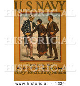 Historical Illustration of Uncle Sam Shaking Hands with a Mother While Recruiting Her Son to the Navy by Al