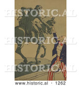 Historical Illustration of Uncle Sam Shaking Hands with the Marquis De Lafayette by Al
