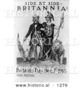 Historical Illustration of Uncle Sam: Side by Side Britannia 1918 by Al