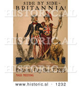Historical Illustration of Uncle Sam: Side by Side - Britannia! - Britain's Day Dec. 7th, 1918 - Mass Meeting by Al