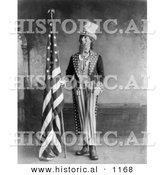 Historical Illustration of Uncle Sam Standing Beside an American Flag, 1898 - Black and White by Al