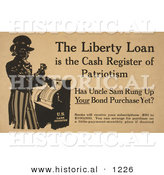 Historical Illustration of Uncle Sam: the Liberty Loan Is the Cash Register of Patriotism by Al
