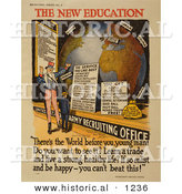 Historical Illustration of Uncle Sam: the New Education - Army Recruiting Office by Al