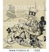 Historical Illustration of Uncle Sam: the New Pup Don - Administration Tariff Reform Law by Al