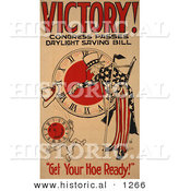 Historical Illustration of Uncle Sam: Victory! Congress Passes Daylight Saving Bill - Get Your Hoe Ready! by Al