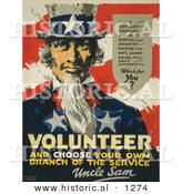Historical Illustration of Uncle Sam: Volunteer, and Choose Your Own Branch of the Service by Al