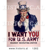 Historical Illustration of Uncle Sam Wants You for the U.S. Army by Al