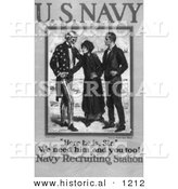 Historical Illustration of Uncle Sam: We Need Him and You Too! - American Navy Recruiting Station - Black and White Poster by Al