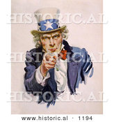 Historical Illustration of Uncle Sam Wearing a Starred Hat While Pointing His Finger Towards You by Al