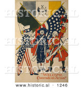 Historical Illustration of Uncle Sam: Welcome Comrade-at-Arms! by Al