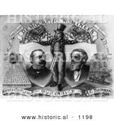 Historical Illustration of Uncle Sam with Grover Cleveland and A.G. Thurman - Black and White Version by Al