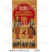 Historical Illustration of Uncle Sam: World Peace with Liberty and Prosperity 1919 - Happy New Year by Al