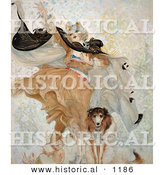 Historical Illustration of Uncle Sam's Dog with a Liberty Bond Beside a Woman and Baby by Al