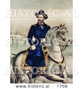 Historical Illustration of Union Lieutenant General Ulysses S. Grant Riding a White Horse by Al