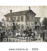 Historical Illustration of Villagers Greeting Abraham Lincoln on Horseback in Front of His House in Springfield, Illinois by Al