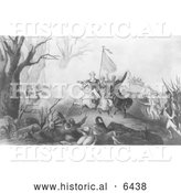 Historical Illustration of Washington at Princeton 1777 - Black and White by Al