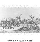 Historical Illustration of Washington at Princeton January 3rd 1777 - Black and White by Al